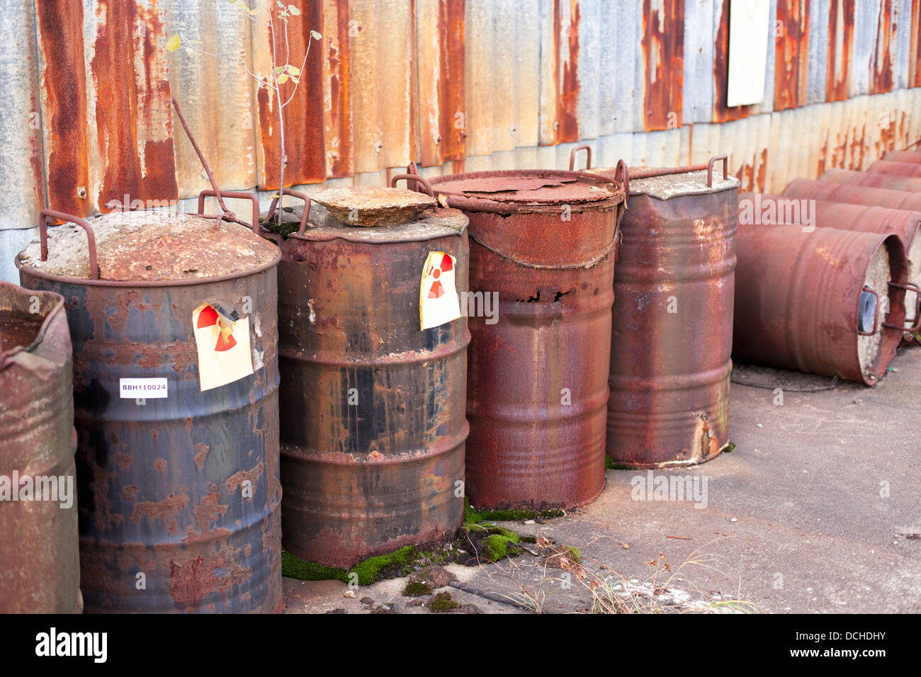 barrel with radioactive waste disposal Stock Photo