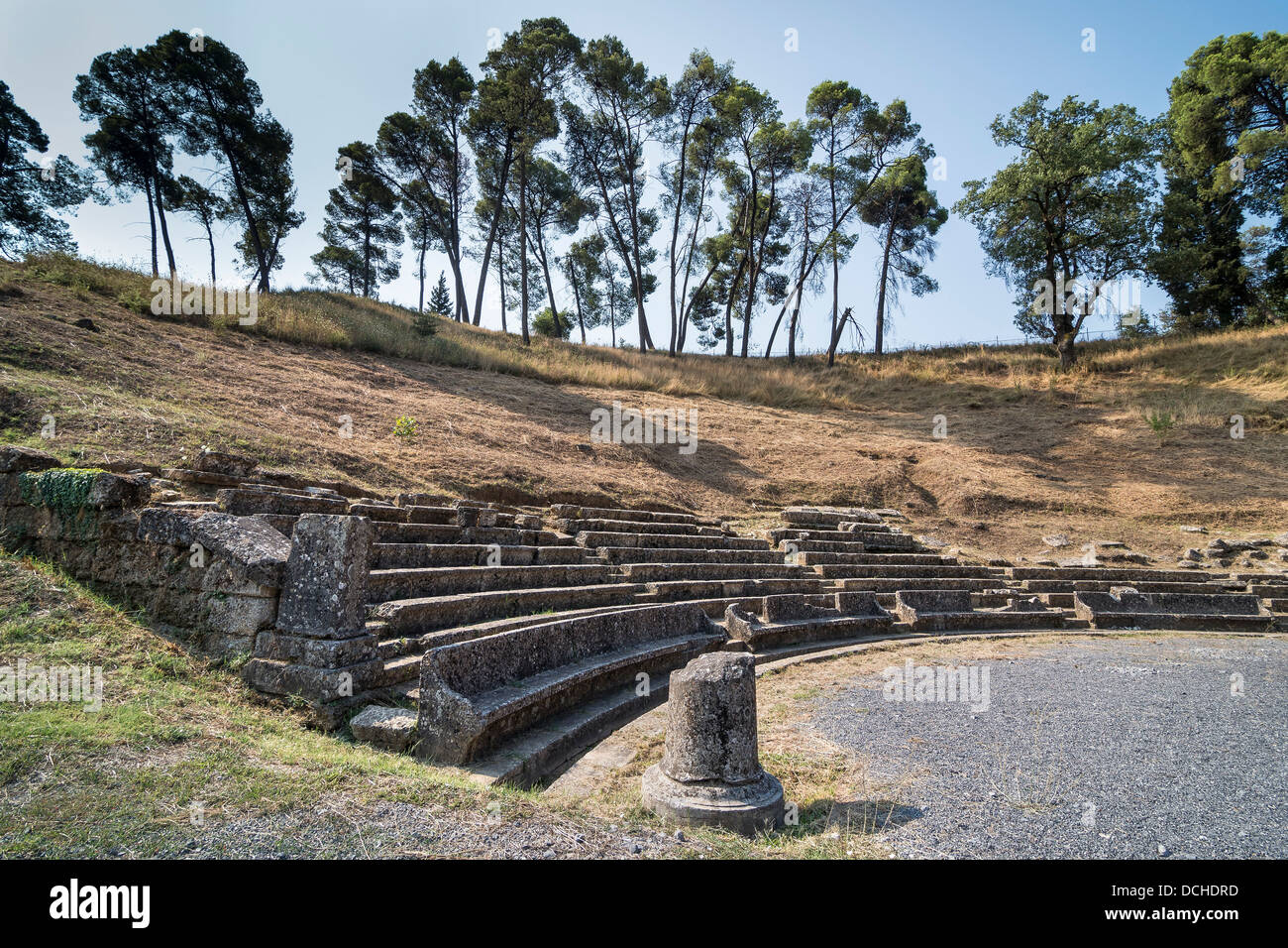The ruins of the theatre at Ancient Megalopolis. Megalopoli, central Peloponnese, Greece. Stock Photo