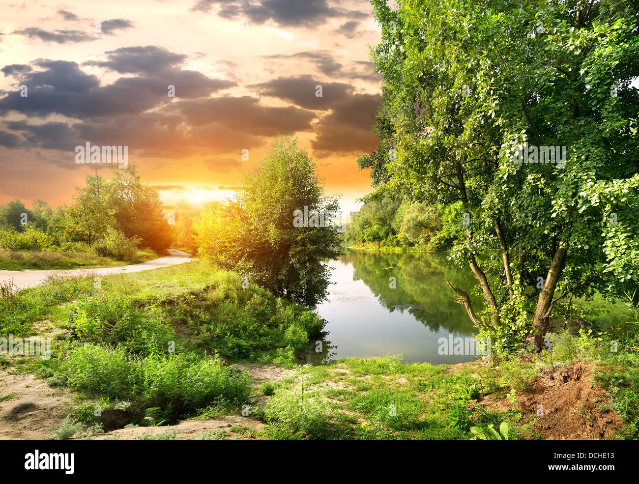Road along the river Severskiy Donets in Ukraine - Stock Image