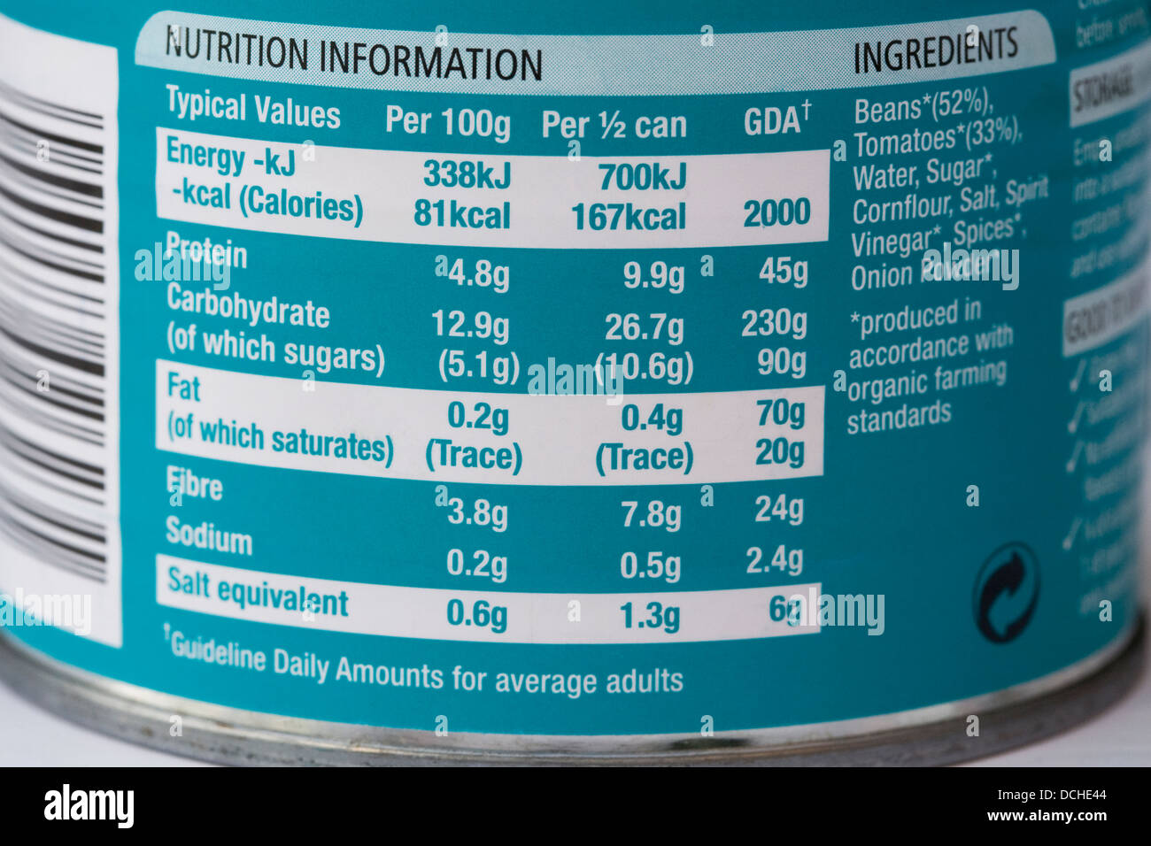 Nutritional Information On A Baked Bean Can Stock Photo Alamy