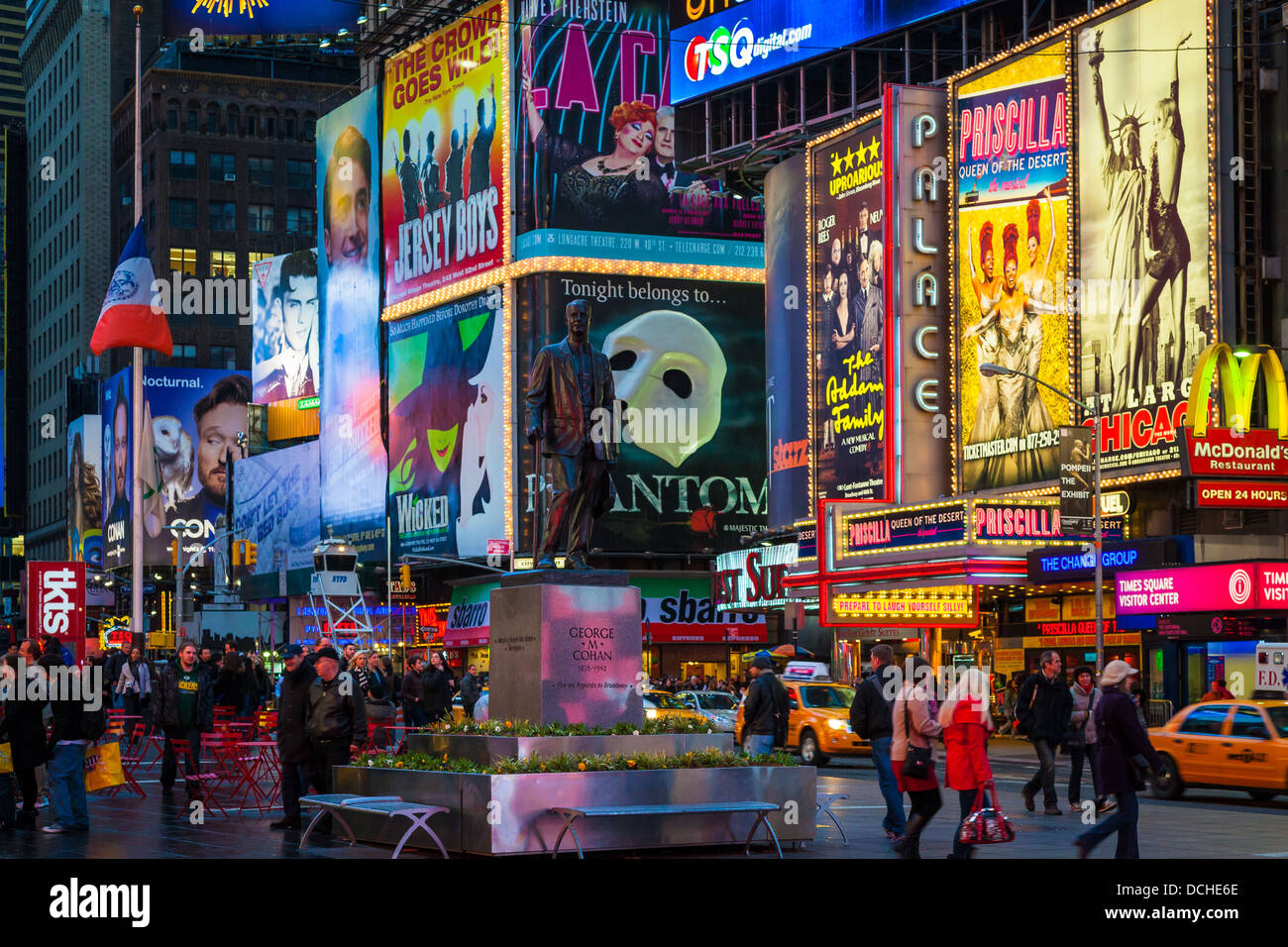 Billboards for Broadway shows in Times Square, New York City - Stock Image