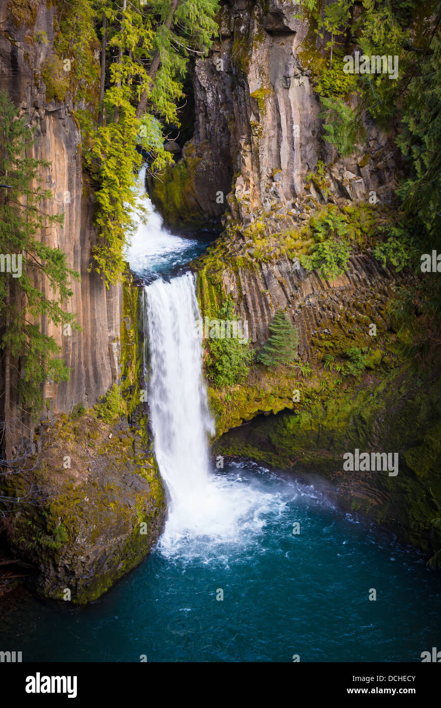 Toketee Falls waterfall in Douglas County, Oregon - Stock Image