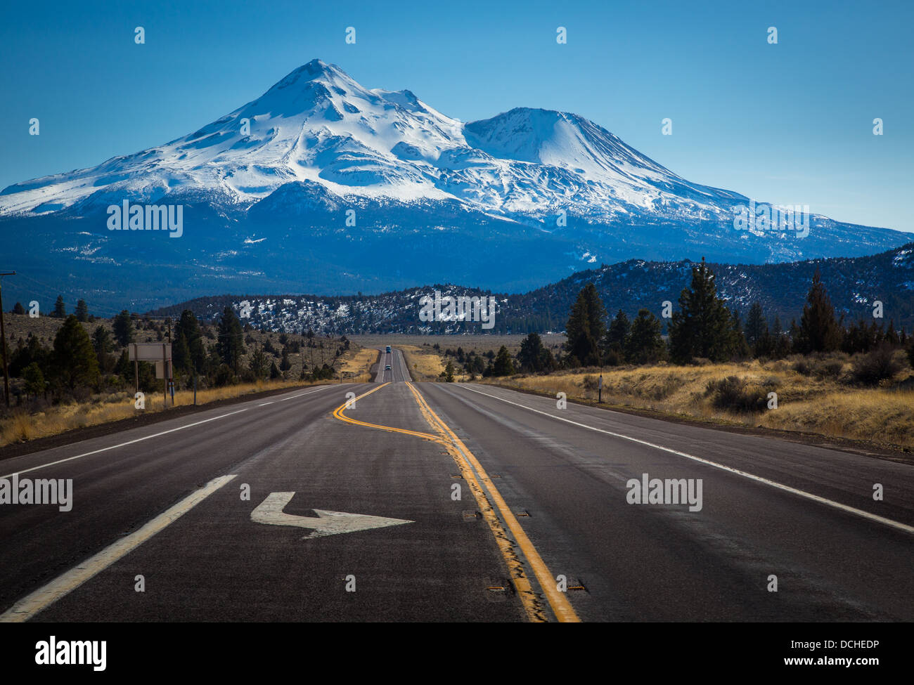 Mount Shasta is located at the southern end of the Cascade Range in Siskiyou County, California - Stock Image