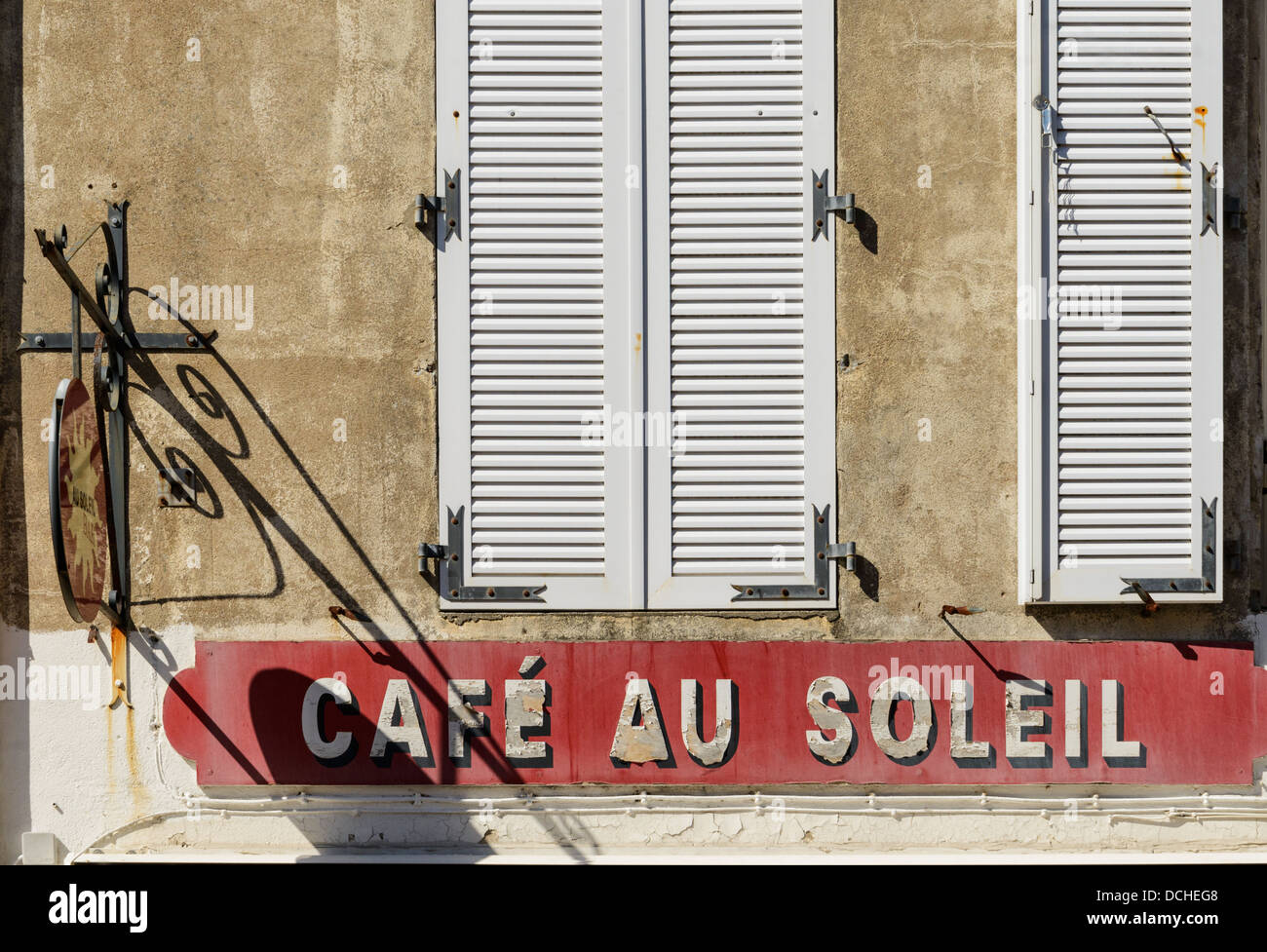 French cafe sign and shuttered windows La Rochelle Charente Martime France Europe - Stock Image