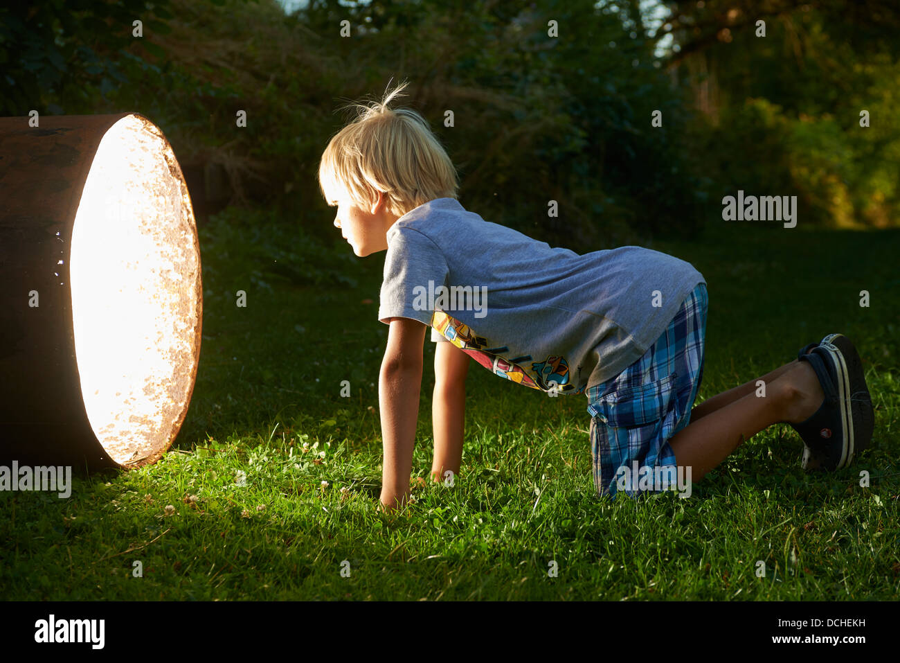 Child boy find a treasure in magic barrel at dusk - Stock Image