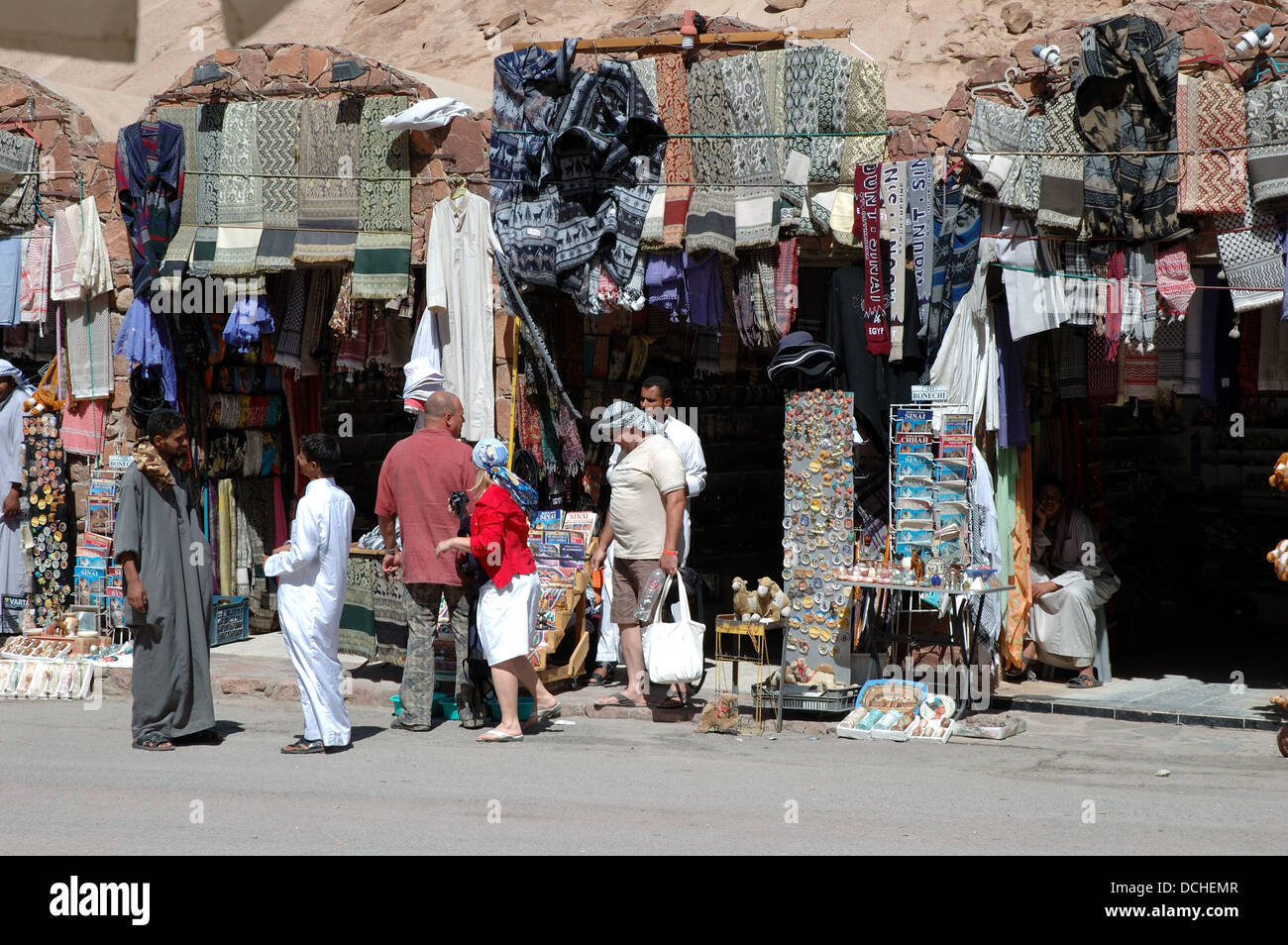 Tourists shopping for gifts at St Katherine's Monastery Egypt.