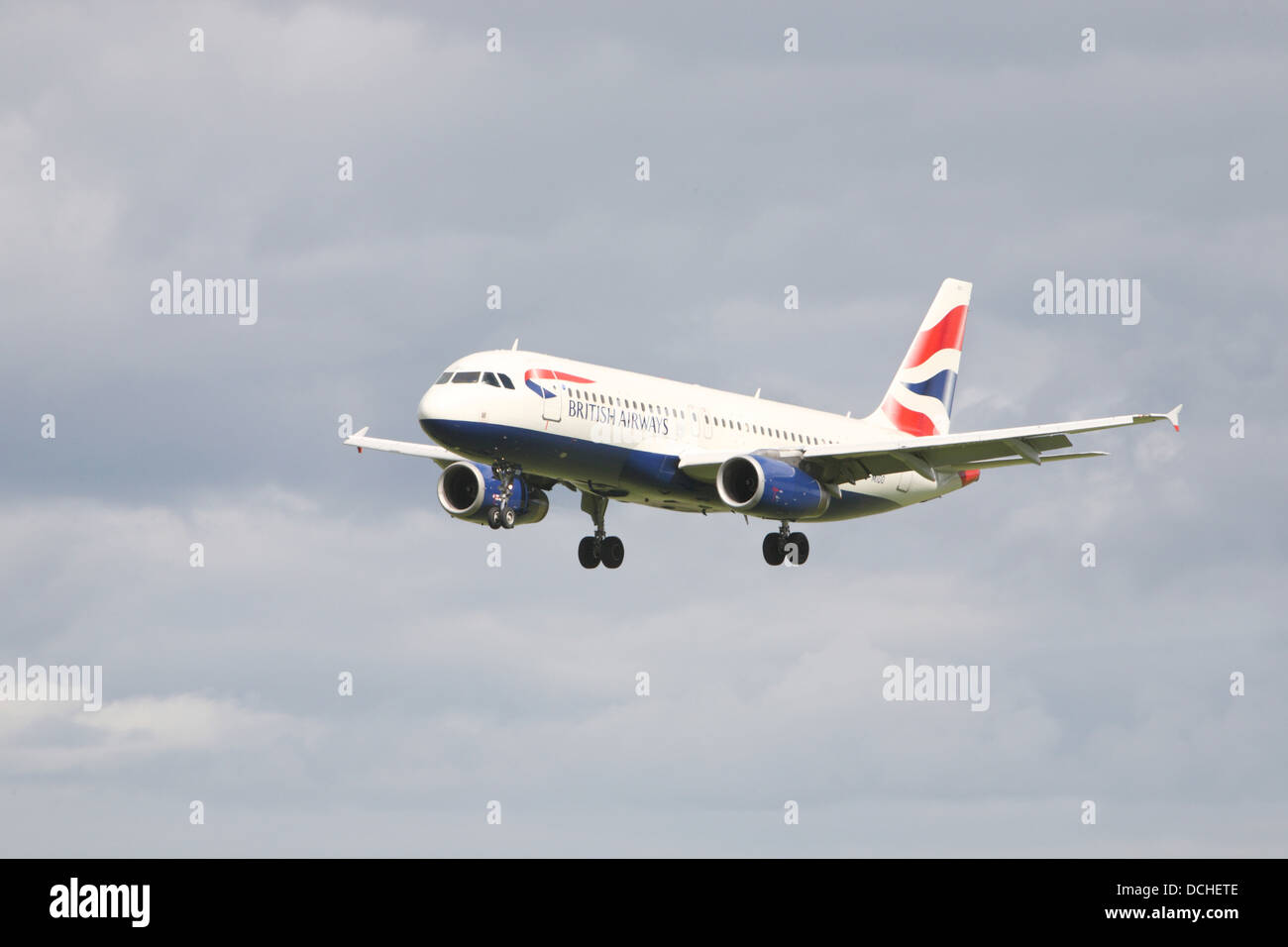 British Airways flight landing in Dublin - Stock Image