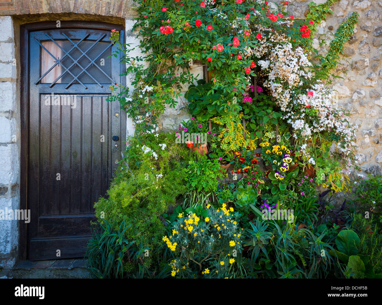 Front door on home in Saint Paul de Vence in France - Stock Image