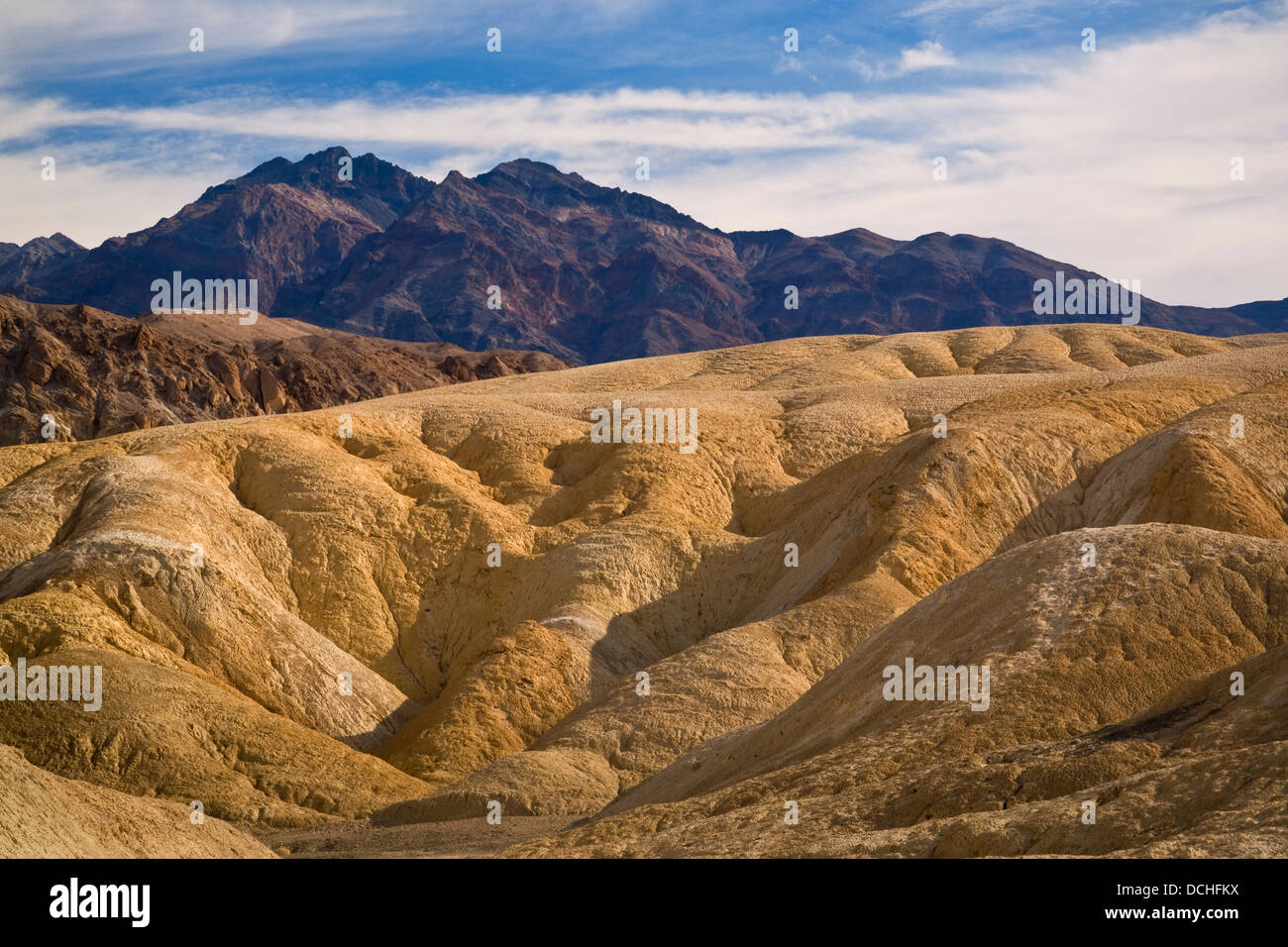 Eroded hillside, Twenty Mule Team Canyon, Death Valley National Park, California Stock Photo
