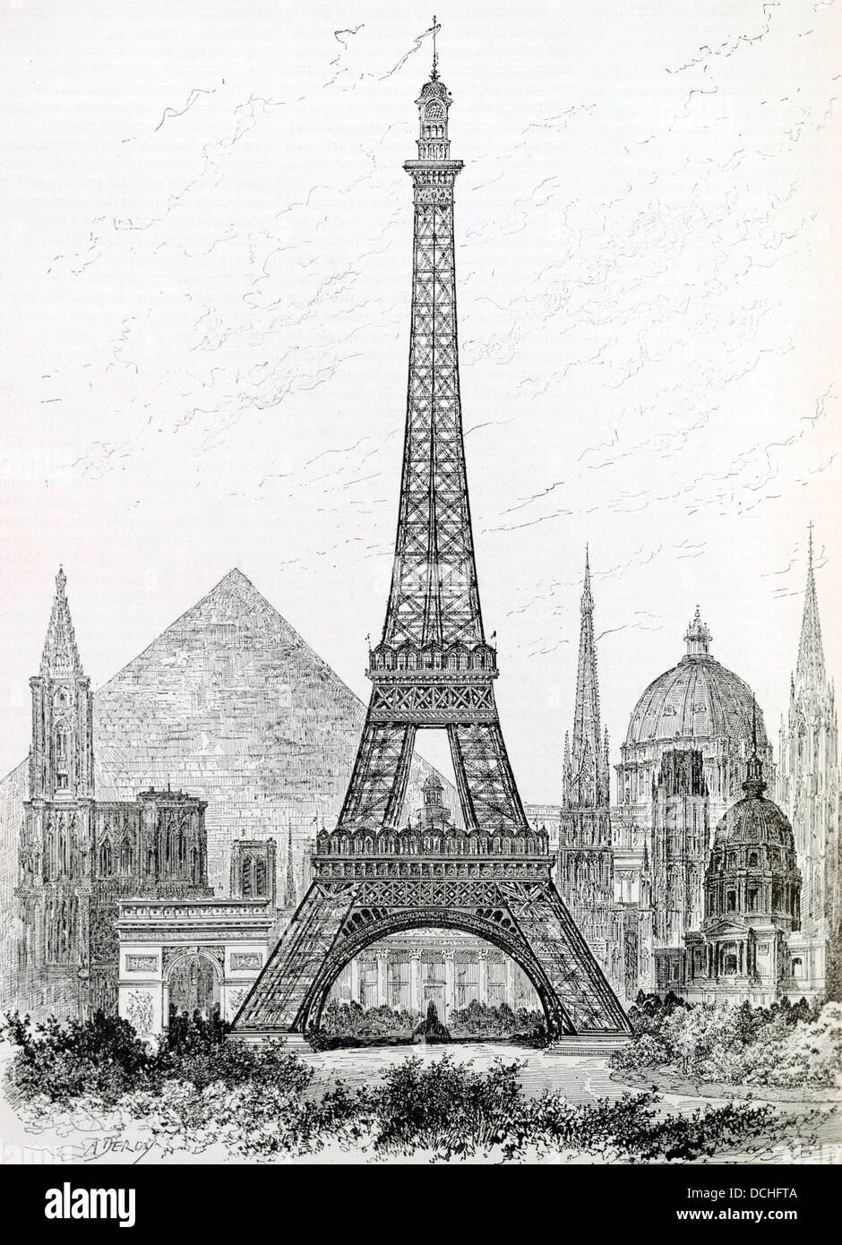 Eiffel tower drawing stock photos eiffel tower drawing stock 1890 drawing comparing the height of the eiffel tower with other world landmarks stock image thecheapjerseys Gallery