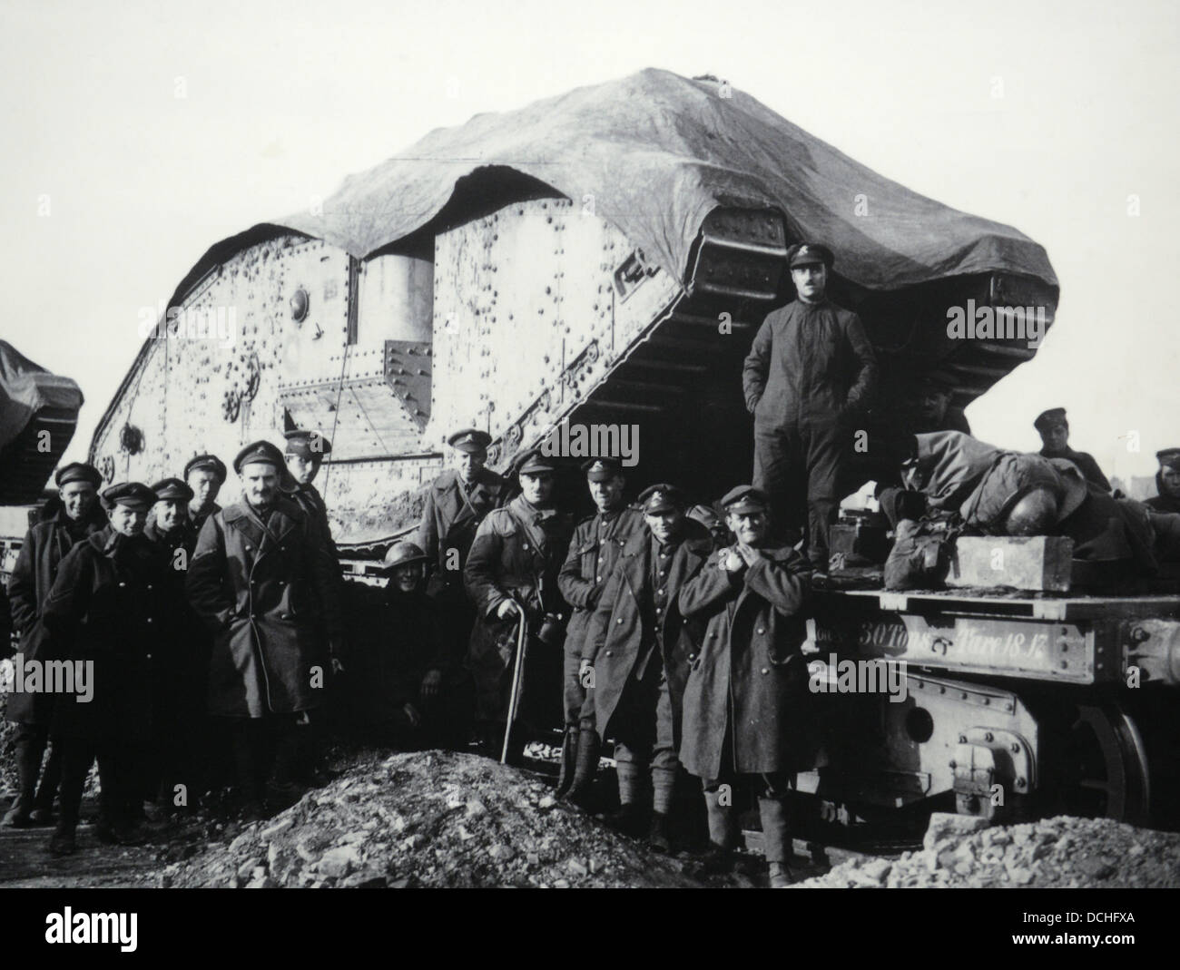 Mark IV Male tank after the battle of Cambrai in France Stock Photo