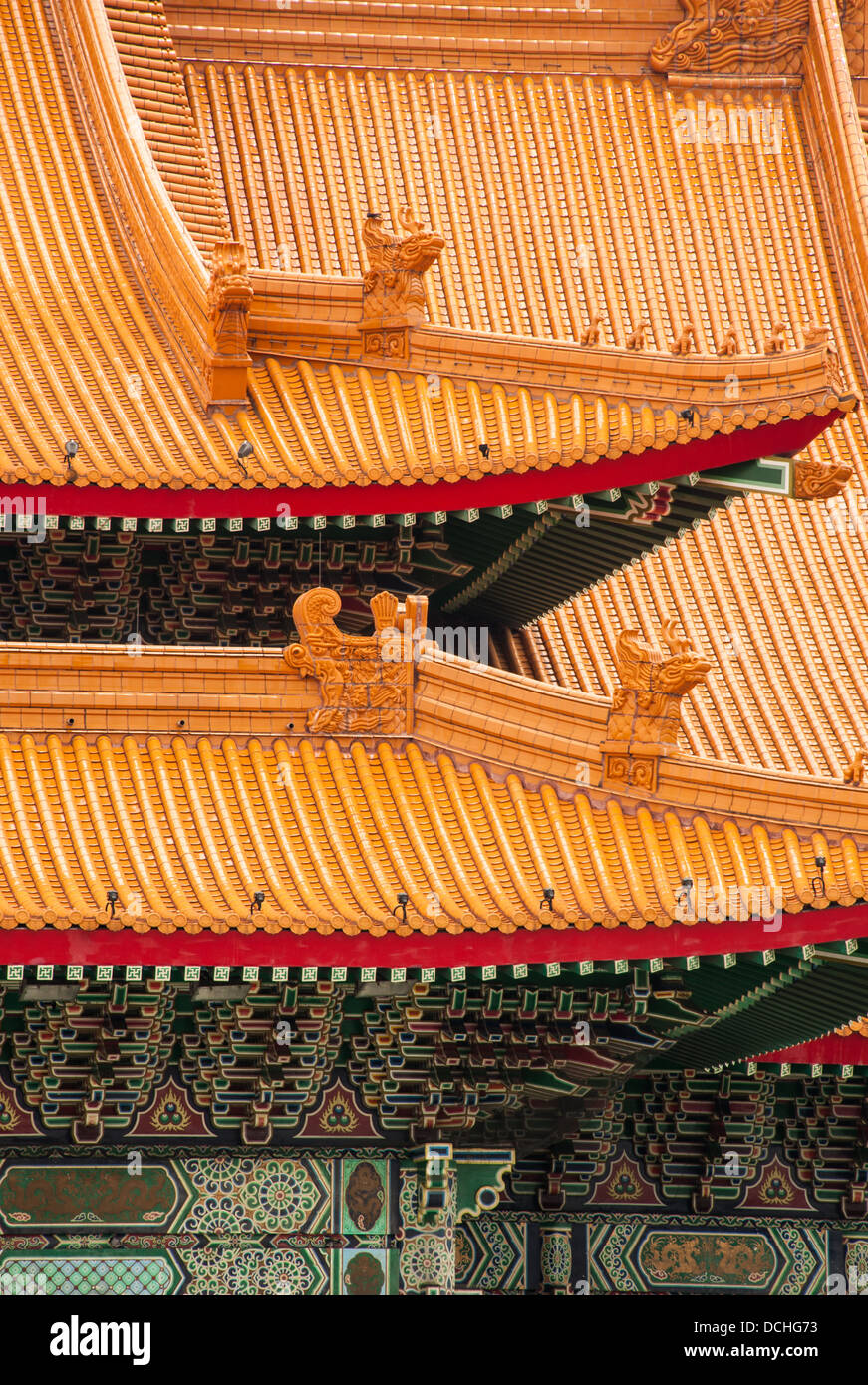 A detail of the ornate roof of the National Concert Hall in Taipei, Taiwan. - Stock Image