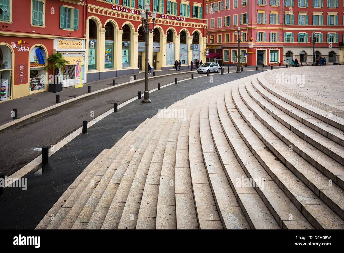 Stairs at Place Massena in Nice, France - Stock Image