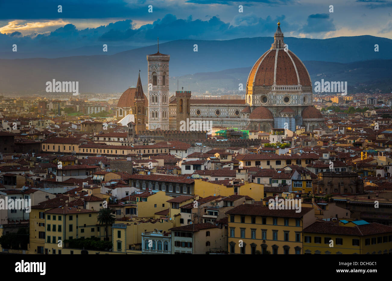 Sunset from Piazzale Michelangelo in Firenze (Florence), Italy - Stock Image