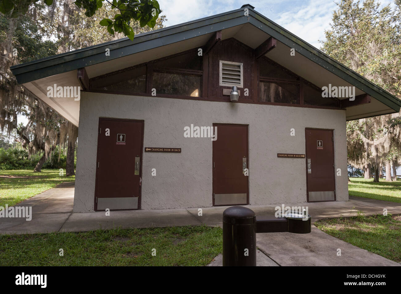 Mill Dam Recreation Park in the Ocala, Florida National Forest Restrooms and Changing rooms - Stock Image
