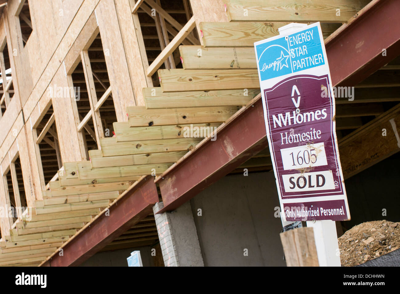 Construction of an NV Homes community with 'sold' signs.  - Stock Image