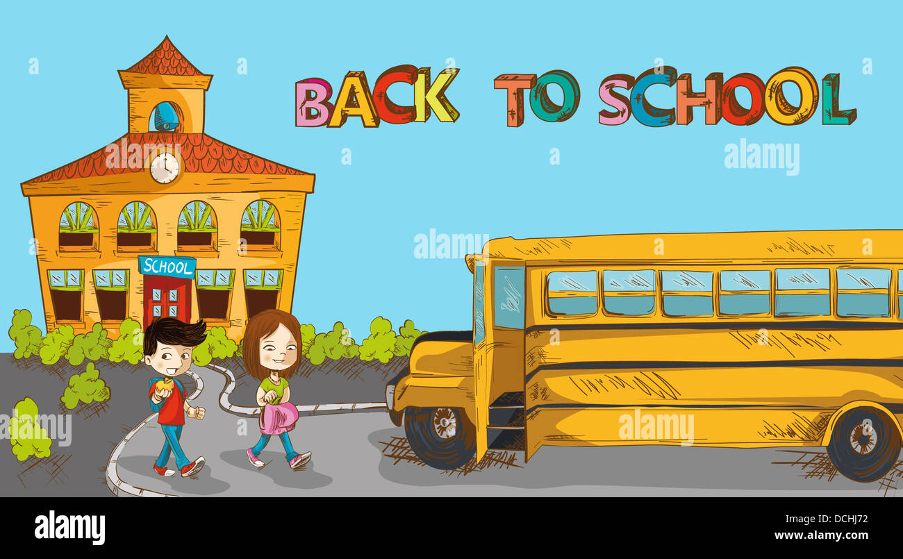 Education Back To School Colorful Building School Bus And A
