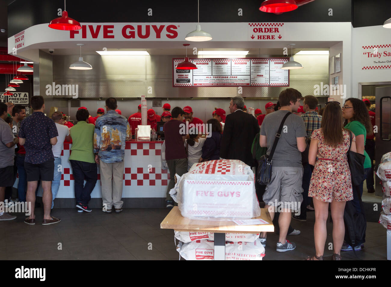 Five Guy's Burger Restaurant - Covent Garden - London - Stock Image