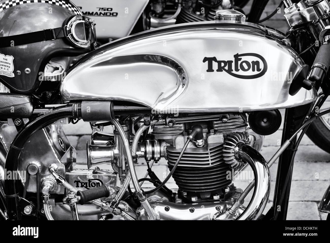 Triton Café racer motorcycle. Triumph/Norton motorbike. Classic British motorcycle. Monochrome - Stock Image