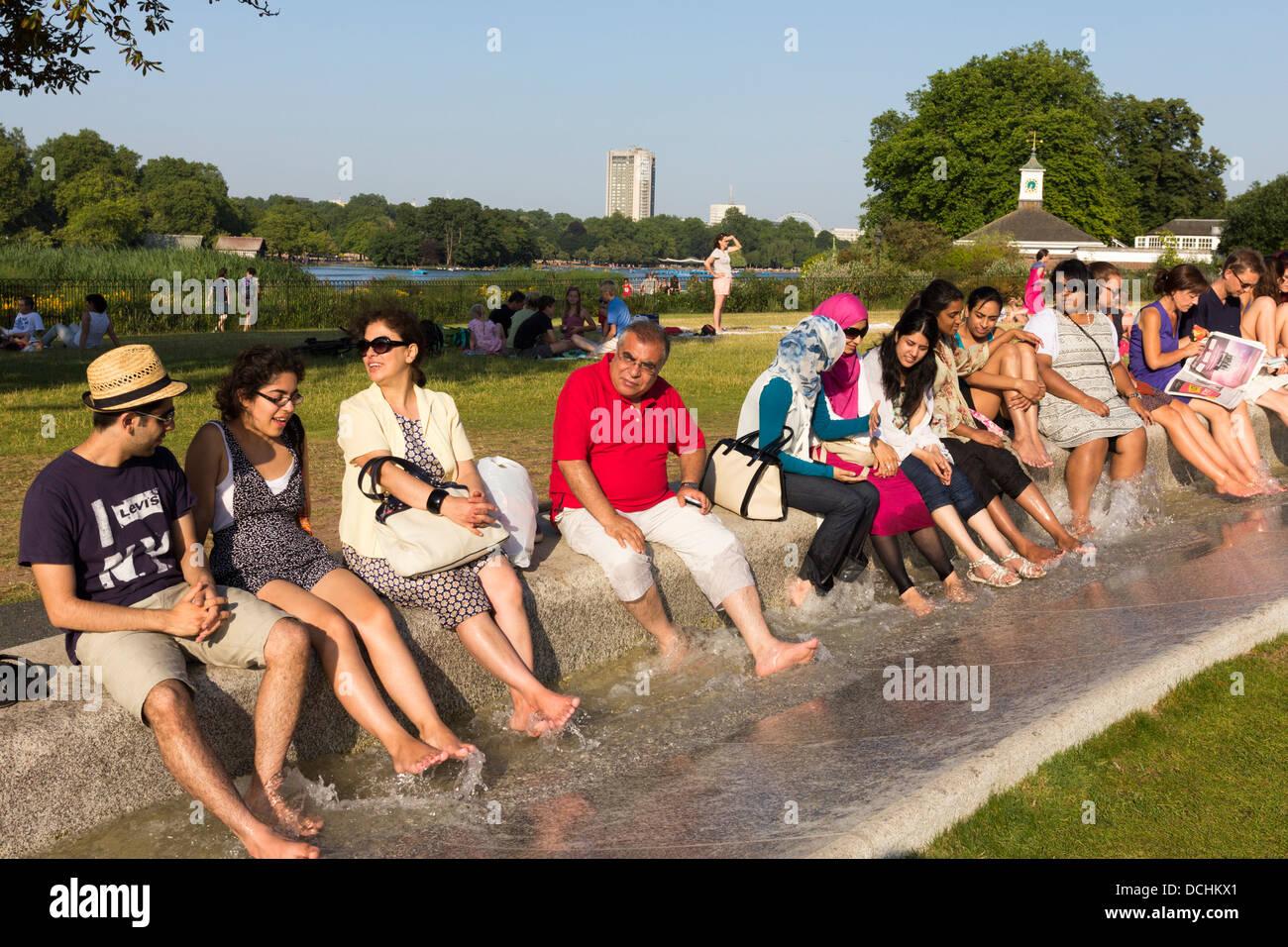 Princess Diana Memorial Fountain during Heatwave - Hyde Park - London - Stock Image