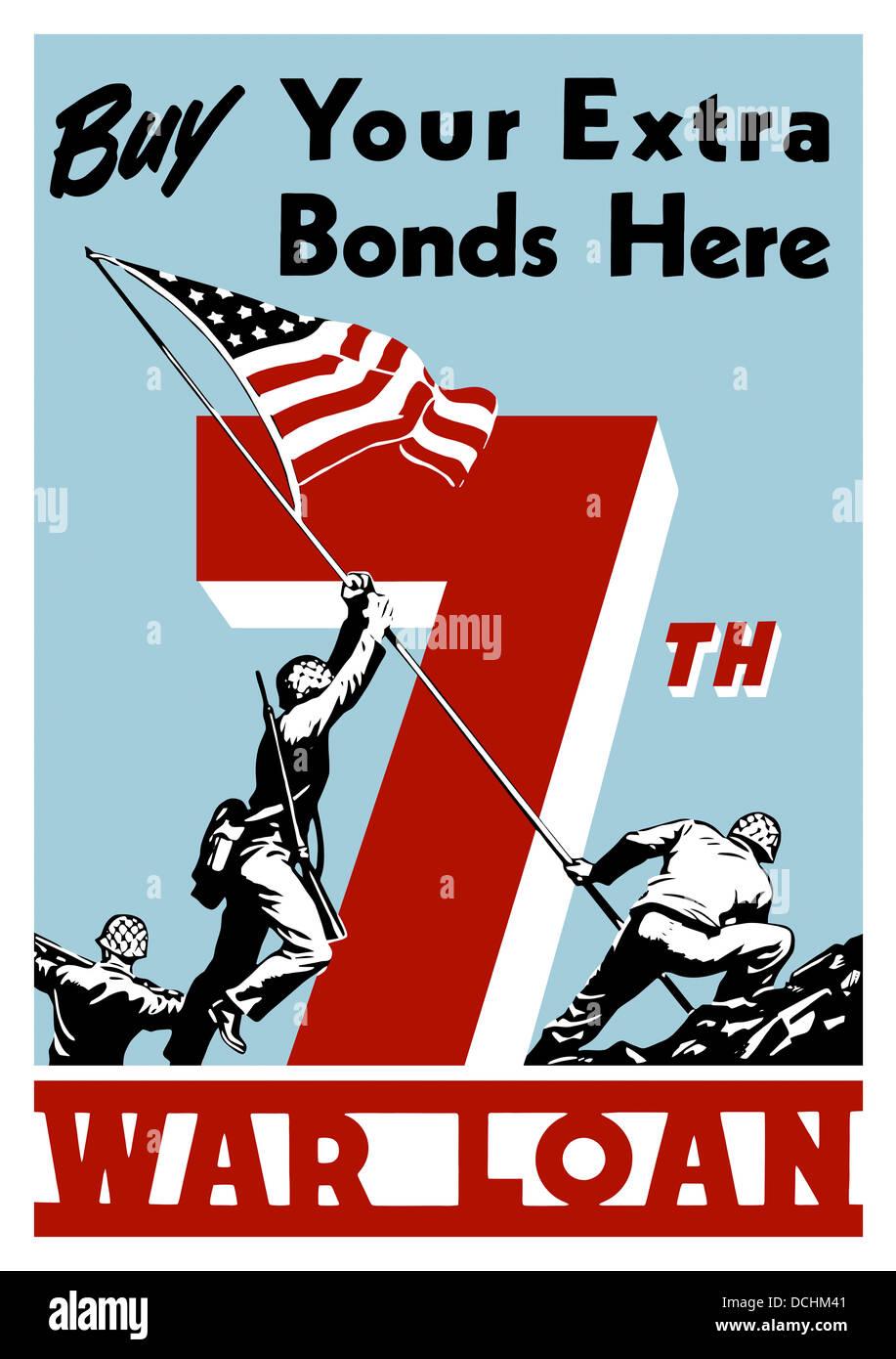 World War II propaganda poster of soldiers raising the American flag. - Stock Image