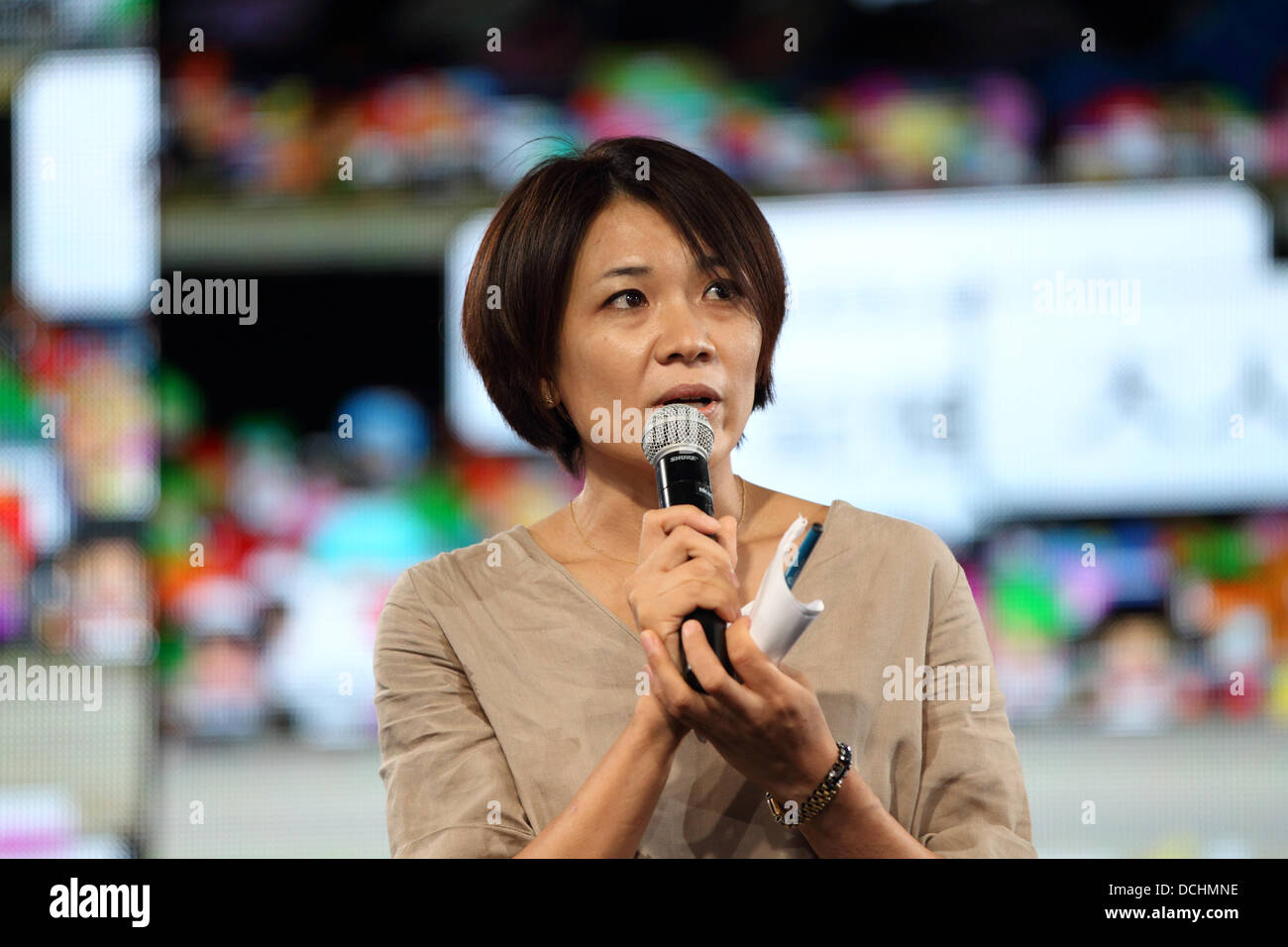 Tokyo, Japan - August 15, 2013 : Minori Kitahara, the owner of Japan's  first sex-toy shop, Love Piece Club, made a speech for the 68th anniversary  of the ...