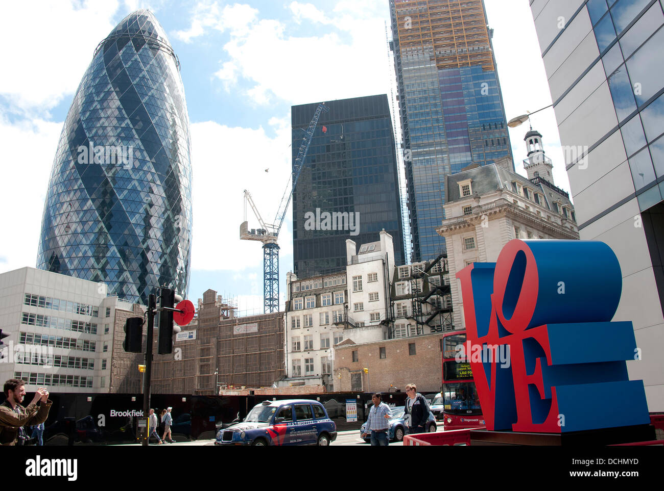 Robert Indiana's LOVE, part of a new public realm exhibition, Sculpture in the City - Stock Image