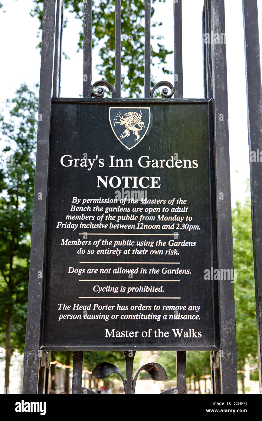 notice and rules at entrance to grays inn field and gardens London England UK - Stock Image