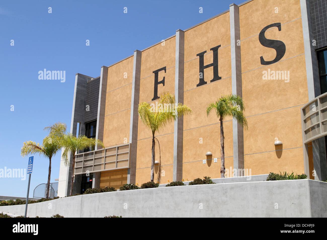 A view of the event center at Foothill High School. 19251 Dodge Ave  Santa Ana, CA 92705 - Stock Image