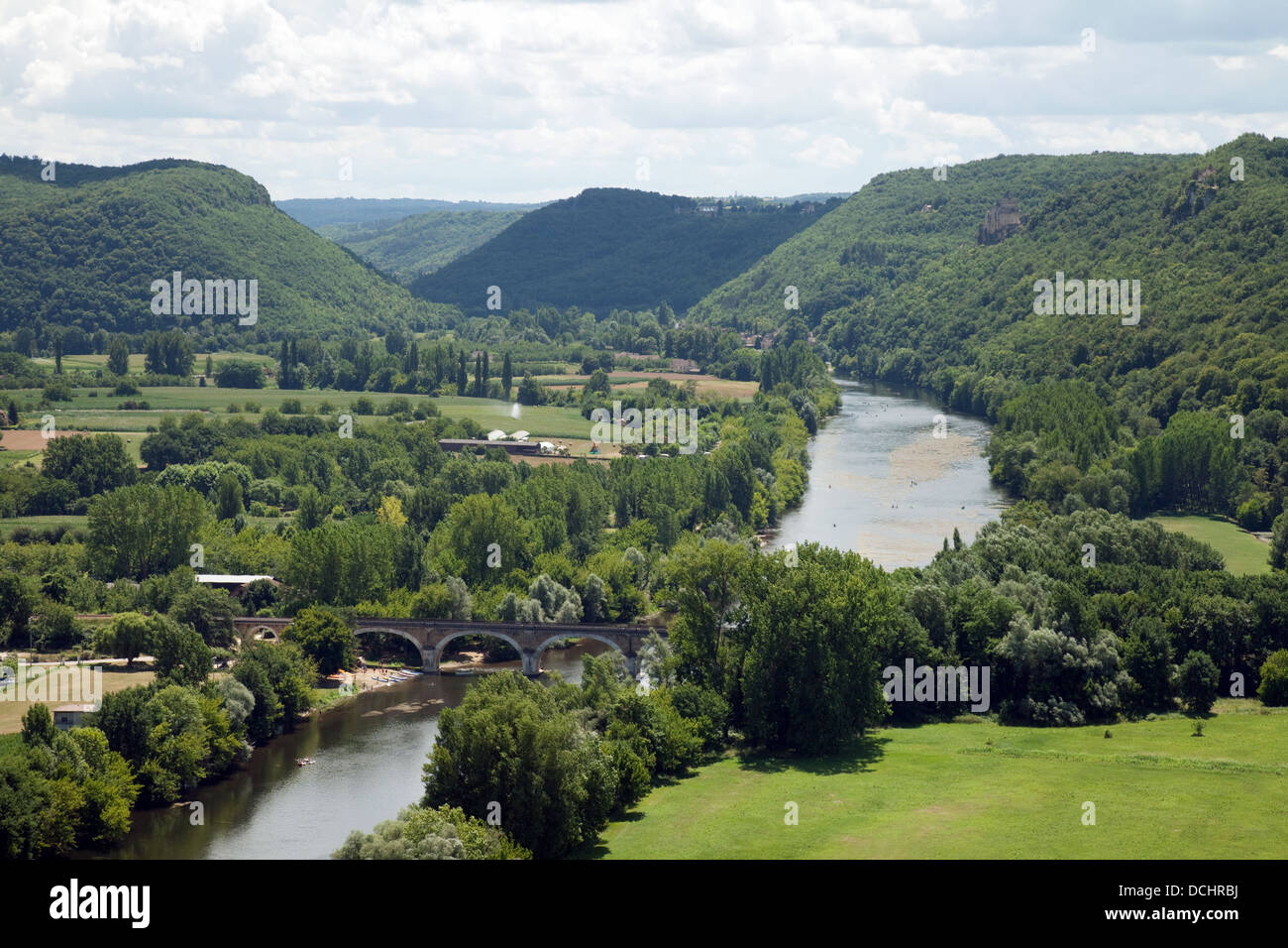 A view from above of the Dordogne river, from the Chateau at Beynac et Cazenac, Dordogne, France, Europe Stock Photo