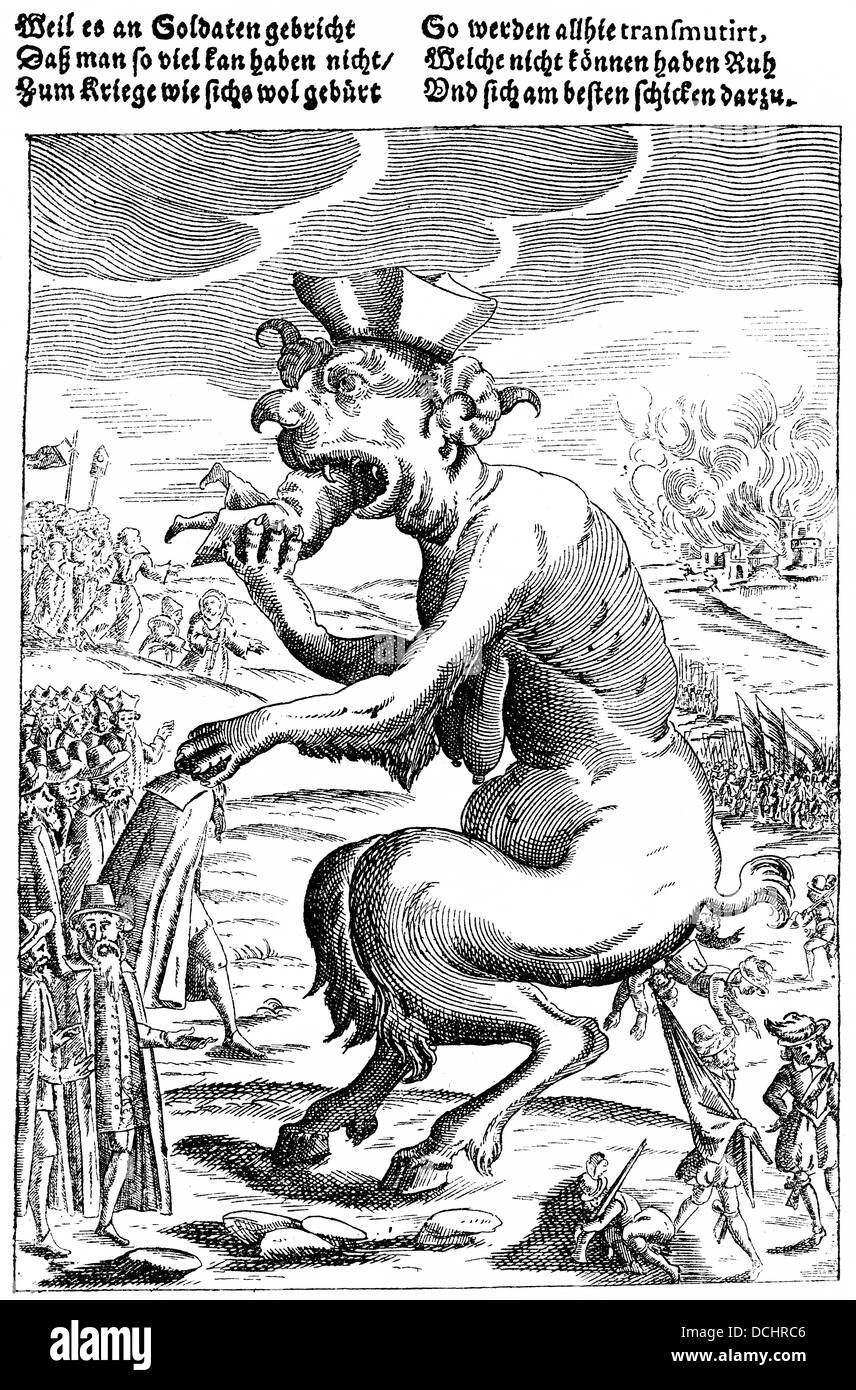 Historical satirical pamphlet for the lack of soldiers during the Thirty Years' War, 17th Century - Stock Image