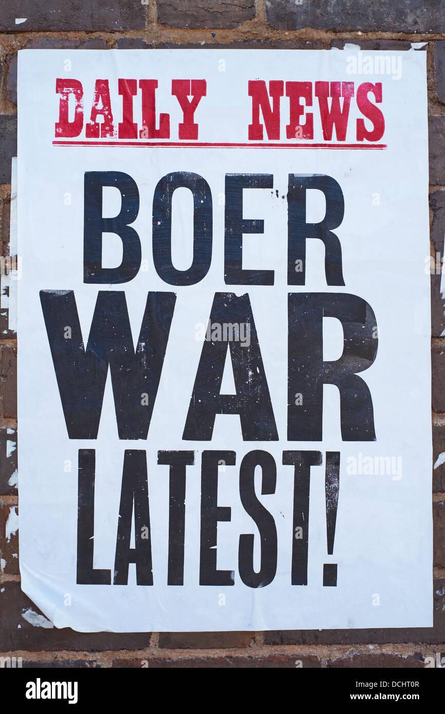 Boer War Latest Poster Blists Hill Shropshire UK - Stock Image