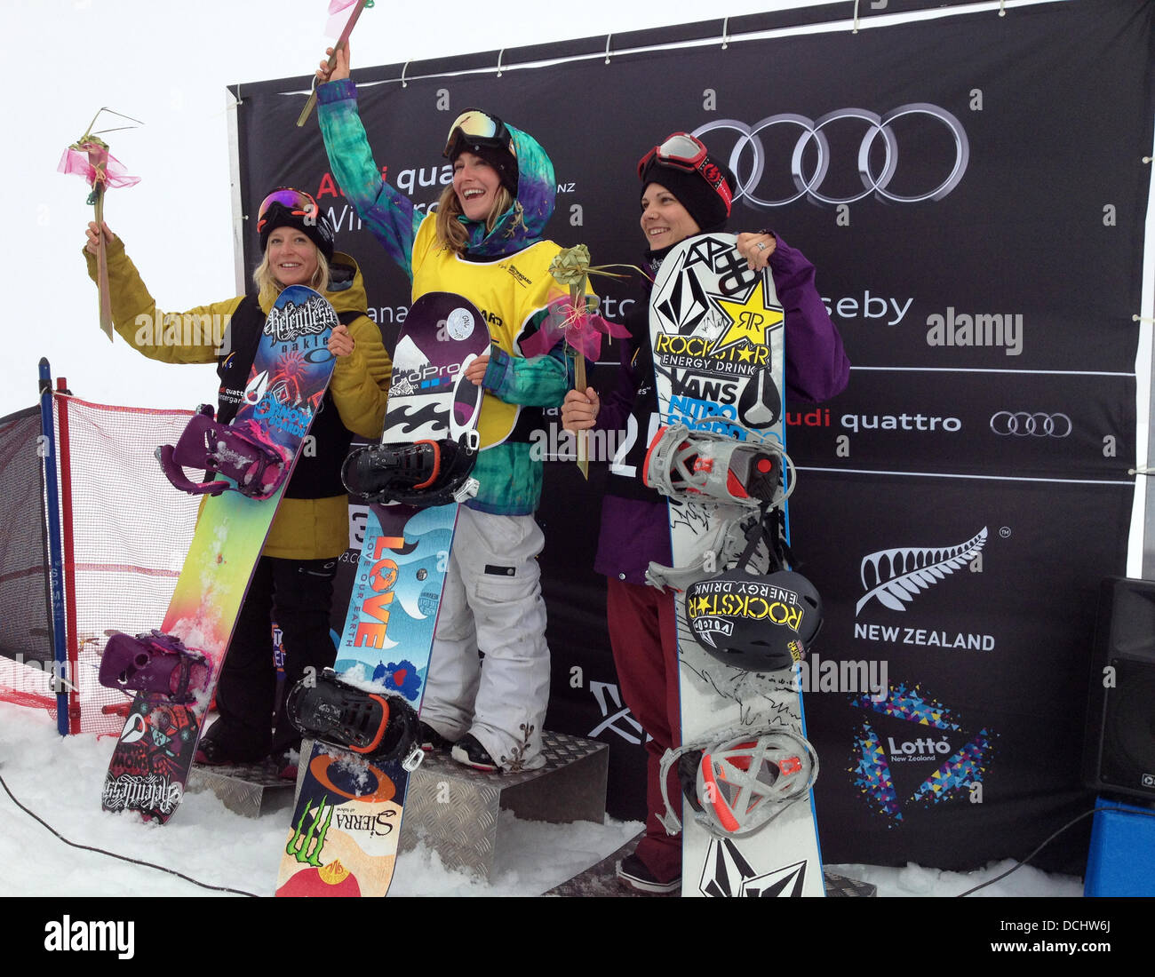 Cardrona, New Zealand. 19th Aug, 2013. Jenny Jones, pictured on the left of the podium, from Bristol UK, takes the - Stock Image