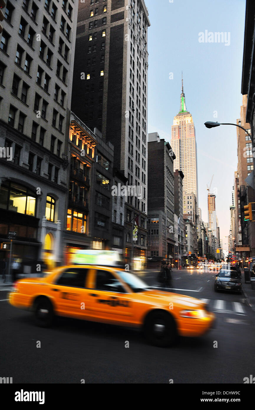 Traffic on the fifth avenue  in Manhattan New York city. - Stock Image