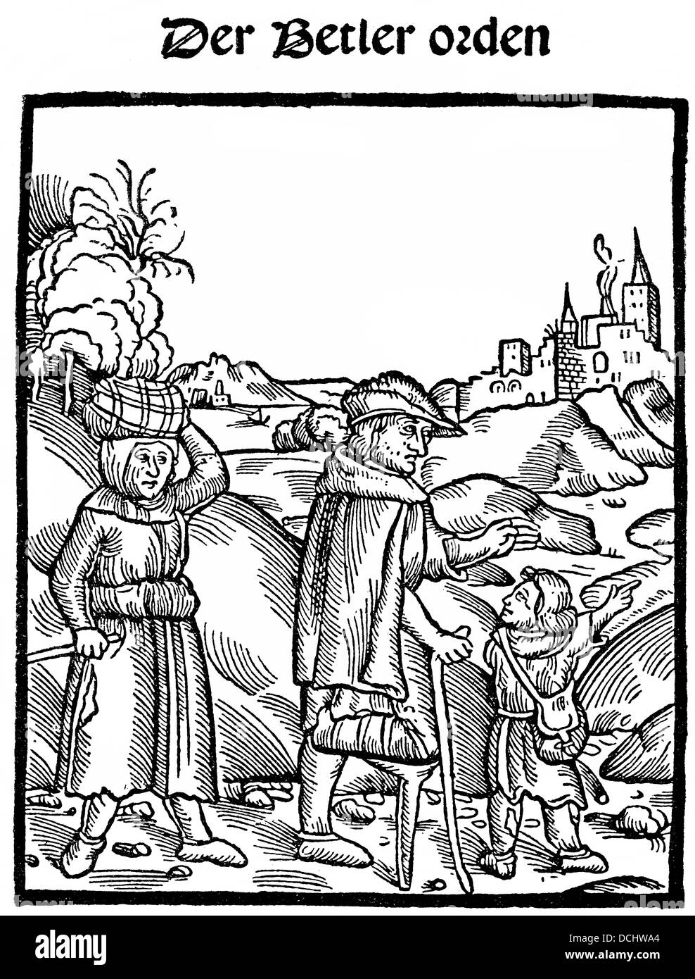 Title of a book from 1500, warning of beggars - Stock Image
