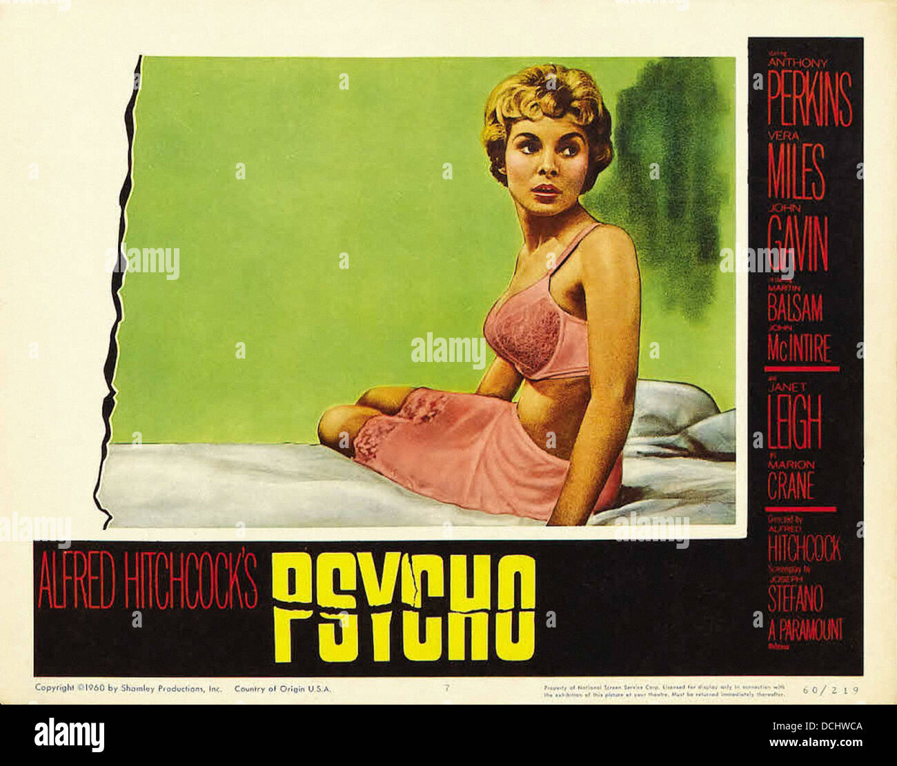 PSYCHO MOVIE POSTER Directed by Alfred Hitchcock. Paramount 1960. - Stock Image