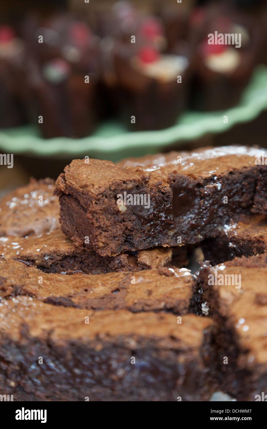 Sticky chocolate brownie - Stock Image