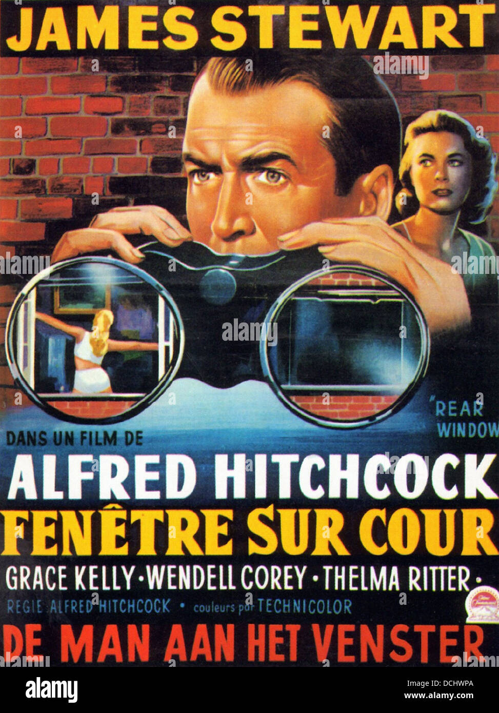 REAR WINDOW FRENCH MOVIE POSTER Directed by Alfred Hitchcock. Paramount, 1954. - Stock Image