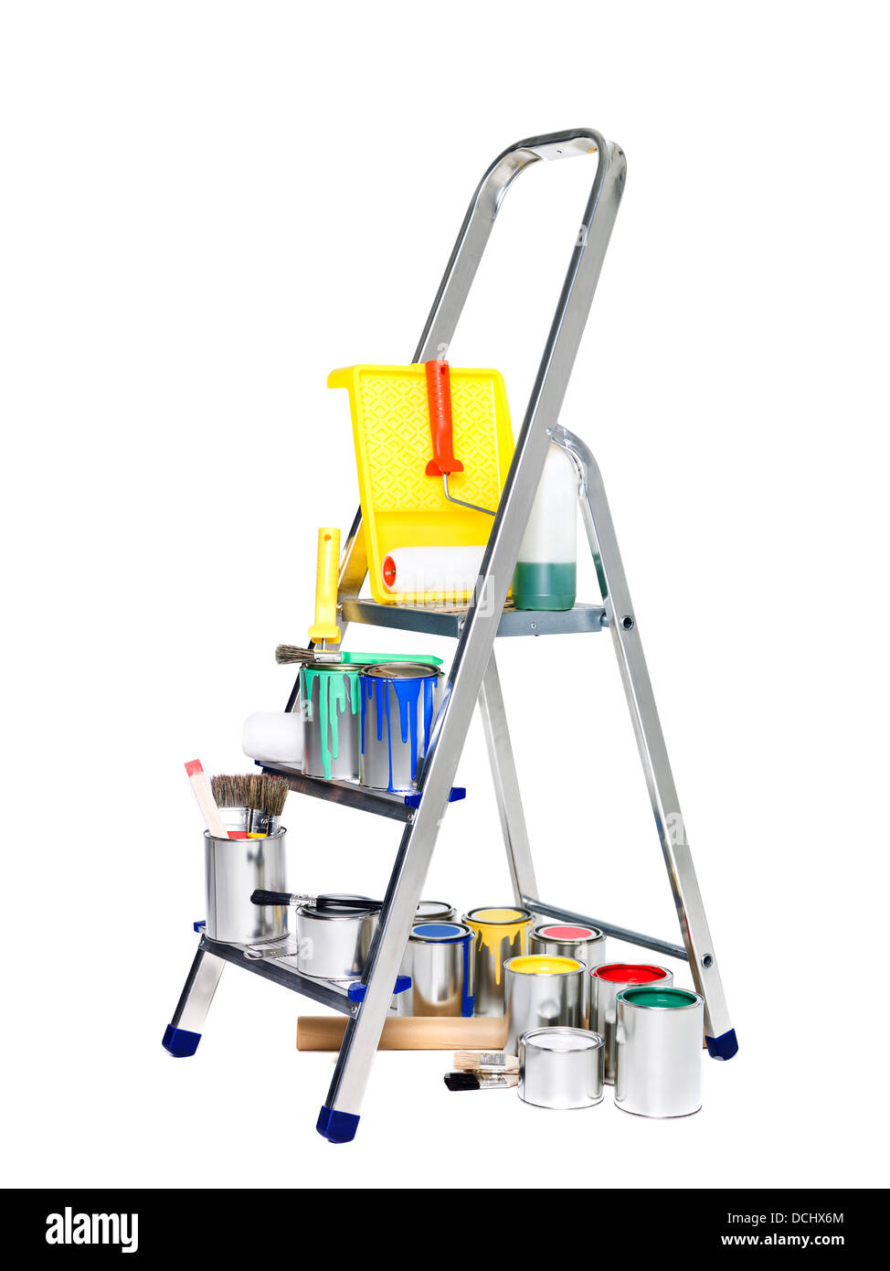 Stepladder with paint cans and brushes Stock Photo