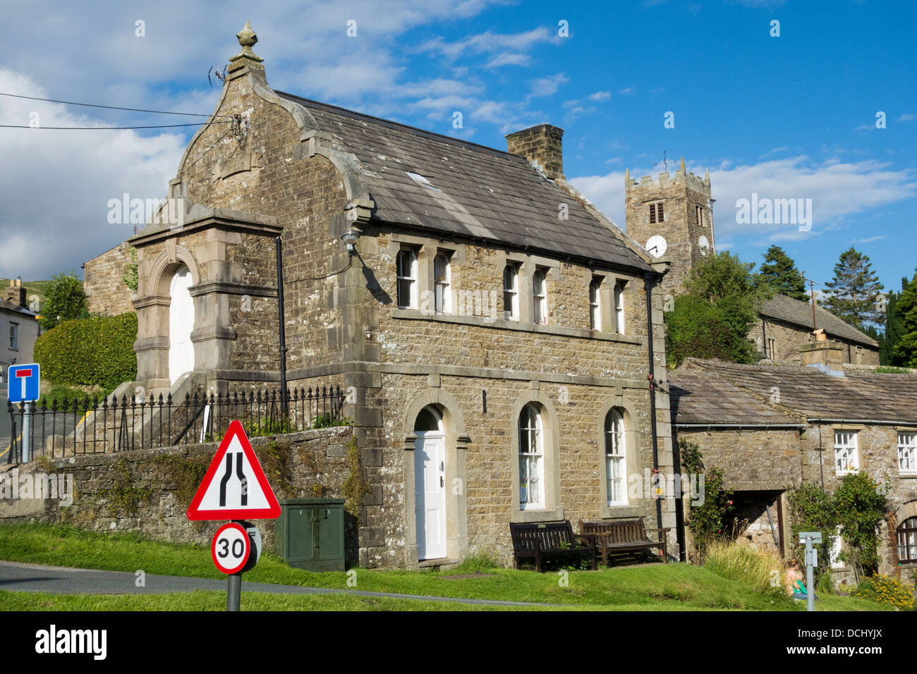 Literary Institute building in Muker village, Swaledale, Yorkshire Dales National Park, England, UK - Stock Image