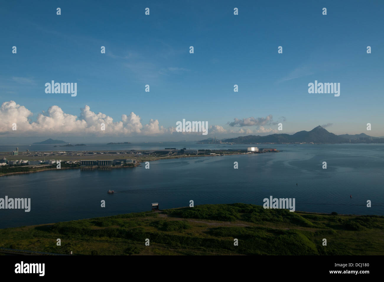Hong Kong Chek Lap Kok airport  - designed by Norman Foster - seen from Lantau island. - Stock Image
