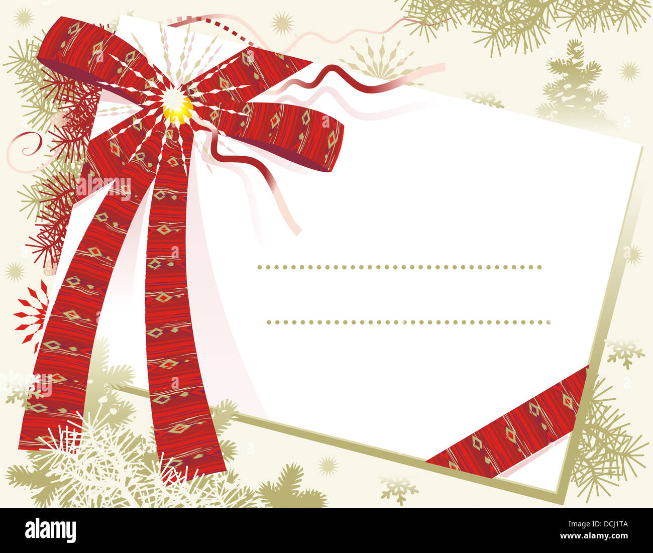 christmas or new year card background with blank letter and red bow