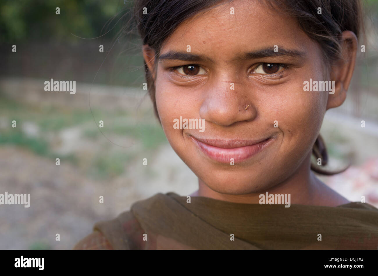 Indian child  goat herder on the banks of the Yamuna River - Agra, India - Stock Image