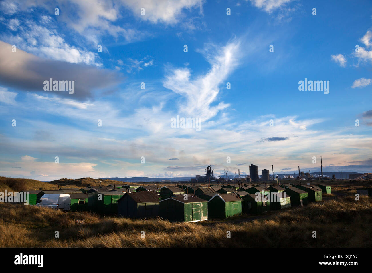 South Gare Fishermens Huts and Steelworks, Redcar - Stock Image
