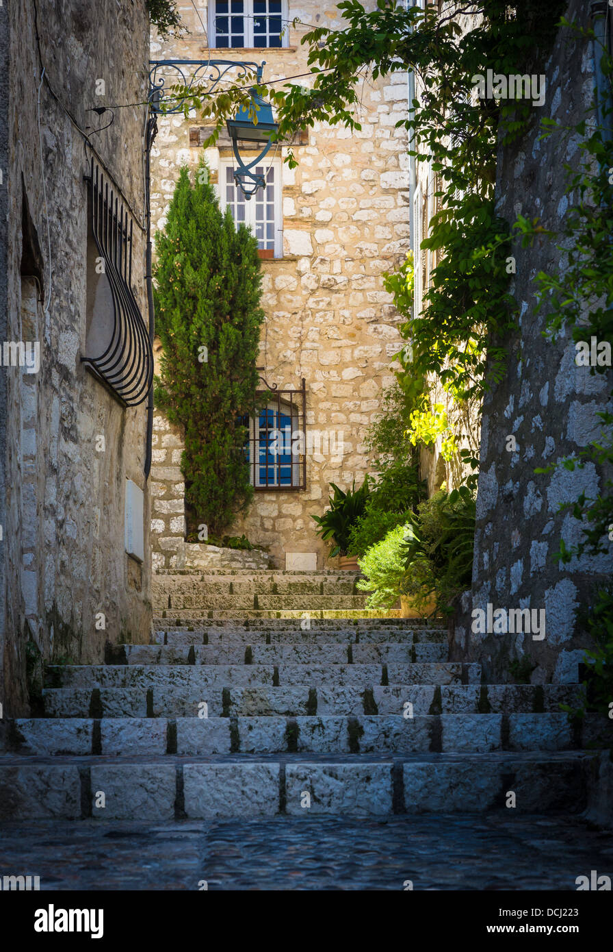 Stairs and homes in Saint Paul de Vence in France - Stock Image