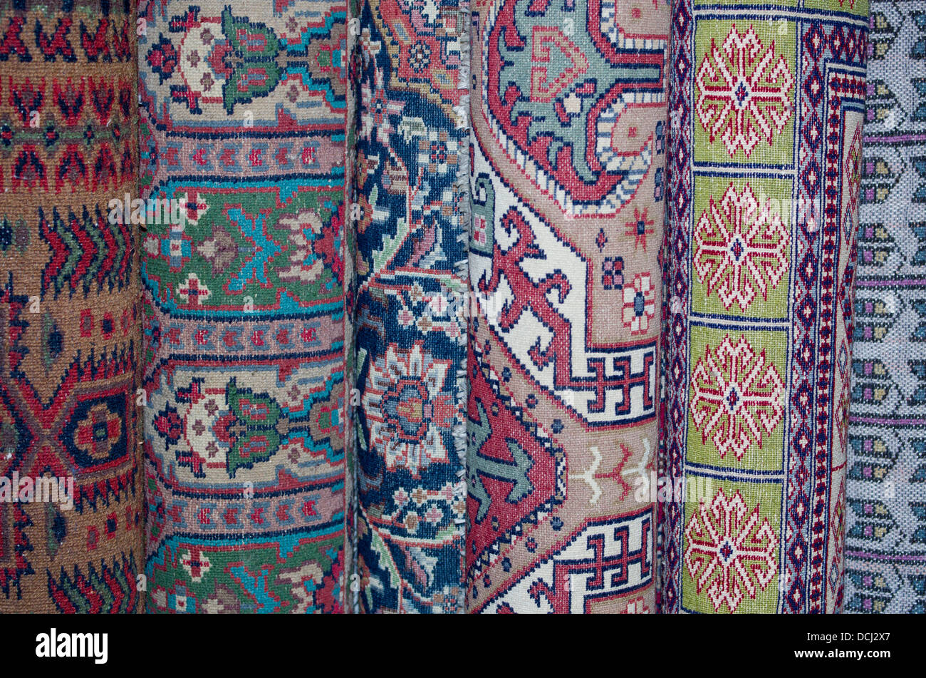 Traditional Indian wool carpets for sale - Agra, India - Stock Image