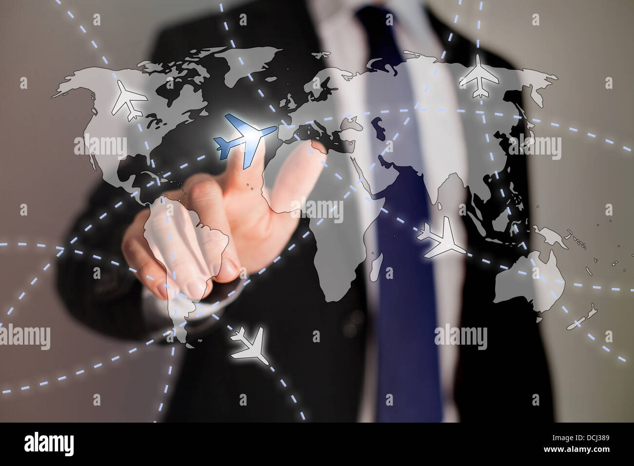 business travel concept, paths of airplanes on the worldmap - Stock Image