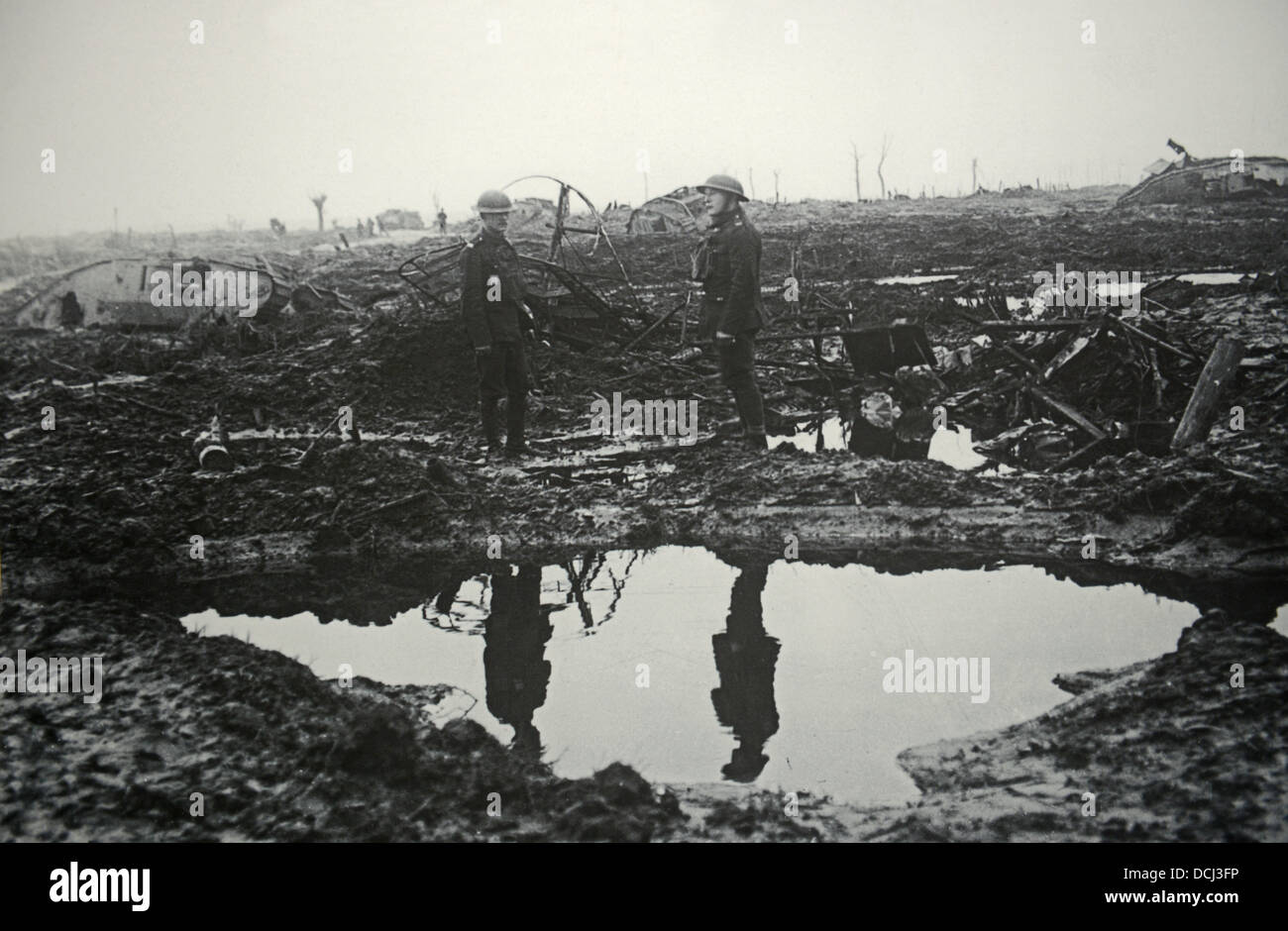 First World War trenches with abandoned tanks on the battlefield - Stock Image