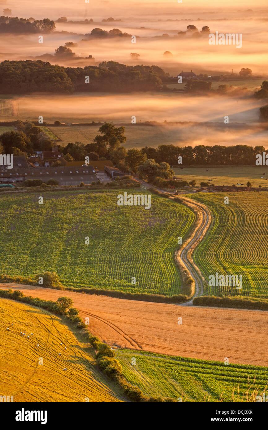 Farmland at the Foot of Firle Beacon - Stock Image