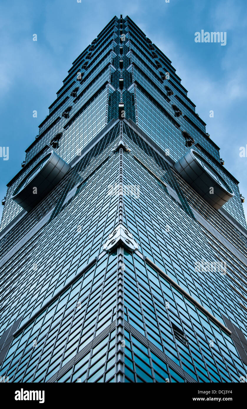 A view looking directly upwards from the base of Taipei 101 in Taipei, Taiwan. - Stock Image